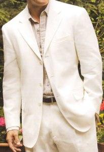 Beige 3-Button Linen Suit